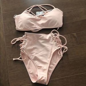 New with tags blush pink high waist tie bikini